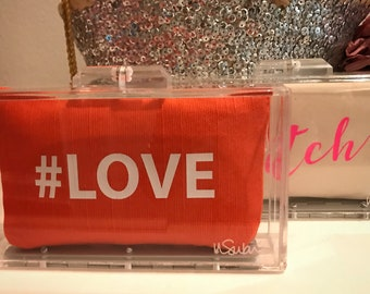 Acrylic clutch with pouch- Choose your pouch!