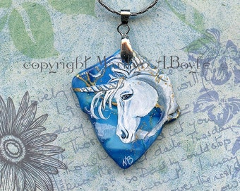 Hand PAINTED UNICORN PENDANT; fantasy, jewelry, necklace, wearable art, unicorn, irregular blue stone, 22 inch chain,