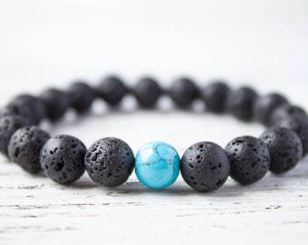 Black Lava Bracelet Turquoise Bracelet Long Distance Gift Boyfriend Bracelet Mens Lava Bracelet Cousin Bracelet Surfer Bracelet BFF Bracelet