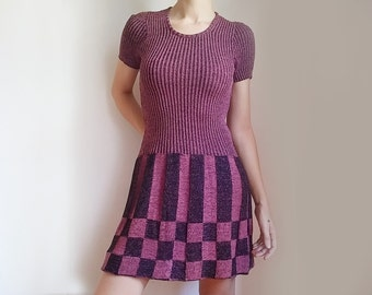"""60s short dress round neck fuchsia preppy dress """"Ariston Gran Moda"""", unique gift idea for Mad men fan, new with tag"""