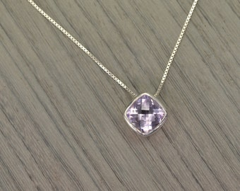 "Sliding Pendant, lavender amethyst 5ct cushion (16"" chain) FEBRUARY BIRTHDAY"