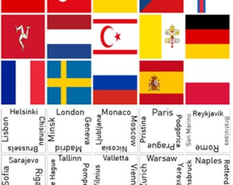 European Connections Magnetic Game | Kids Match Flags and Country Attributes
