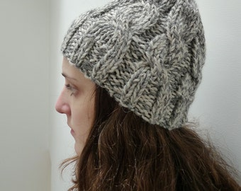 Chunky Beanie, Made to Order, Soft wool hat, Grey Marl, Womens Winter Hat, Handknit