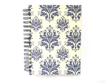 blue damask A5 Sketchbook Journal, blank spiral bound book, fine art paper sketch book
