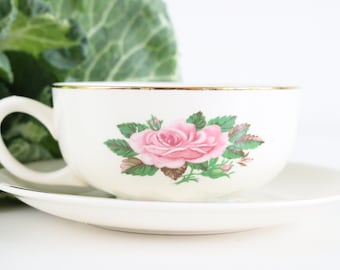 Vintage Cappuccino Cups, Cappuccino Cup And Saucer Set, Pink Rose Coffee Cups, Hot Chocolate Cup, Cappuccino Cup Set, Coffee Cup And Saucer