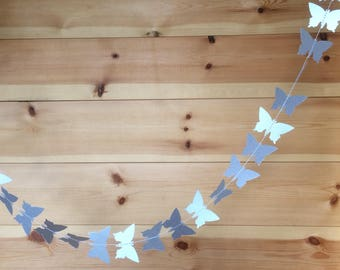 Shimmery Silver Butterfly Garland, Decor, Party Decor, Weddings, Celebrations