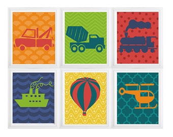 Transportation  Sailboat - Helicopter - Boys Nursery  trucks art prints, trucks decor baby, tow truck  dump truck, baby boy bedroom decor