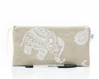 Elephant zipper pouch, Kids pencil case, School supplies, Make Up bag, Cosmetic case, Animal pouch, Linen pen bag, Small pouch, Teacher gift