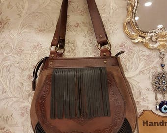 Fringed, Leather, Bucket, Zip, Brown, Black, The Fringed Lady Code:123