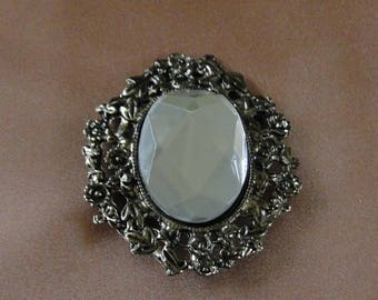 "Unique 2.25"" Silver Plated Edwardian Vintage Oval Mirror Brooch Pin"