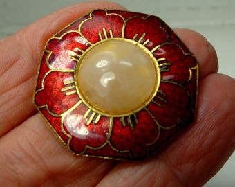 Chinese Cloisonne Red Pink Flower Pin, Enamel Lotus Brooch w Rose Quartz Crystal Stone Center, Very Zen, SIGNED