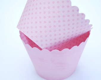 Pink Cupcake Wrappers | Reversible Cupcake Wrappers | Pink Baking Cups