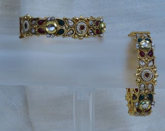 """Indian Jewelry- bracelet: stone and bead. Red, green & white stone. """"Paal Nila"""" or """"Full Moon""""- bridal or bridesmaid's. From Artikrti."""