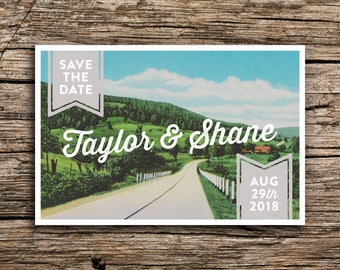 Country Road Save the Date Postcard // Farm Wedding Save the Dates Kentucky Wedding Louisville Lexington Midwest Country Wedding Cards