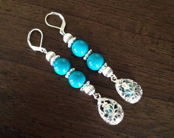 Filigree Earrings, Filigree Turquoise Earrings, Filigree Turquoise Dangle Earrings