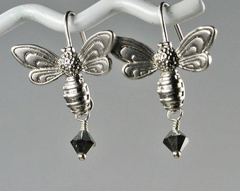 Silver Bee Earrings with Crystal Dangle
