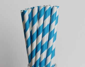 Bright Blue Striped Paper Straws-Mason Jar Straws-Sky Blue Paper Straw-Wedding Straws-Bright Blue Straws-Striped Straws-Blue Party Straws
