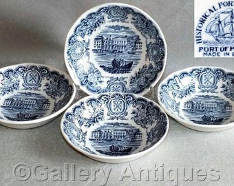 """Four Vintage Historical Ports of England Blue & White 5"""" Fruit / Dessert / Sauce Bowls - The Port of Plymouth c.1950's (ref: 39-020711)"""