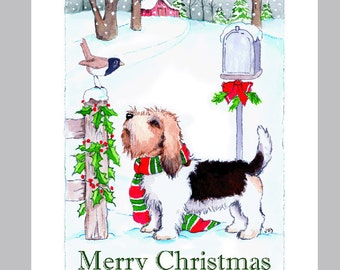 Petit Basset Griffon Vendeen Christmas Card Box of 16 cards and Envelopes