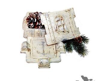 Tall Ship Nautical Trinket Box, Vintage Syroco Cigarette Case