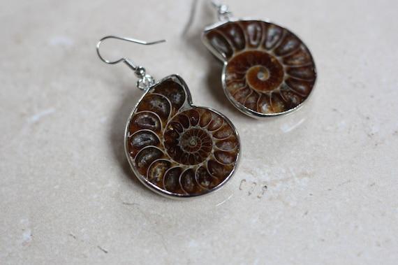 AMMONITE EARRINGS - Fossil earrings - Ammonites - Crystal - Archaeology - Sacred Geometry - Fractal - Shell Jewellery - Handmade Earrings