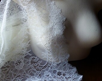 SAMPLE Chantilly Lace Fabric Ivory Creme for Bridal, Veils, Lace Caps, Gowns, Lingerie CH 200