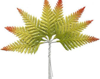 Millinery Paper Leaves Czech Republic 8 Embossed Green Ombre Fern Fronds Leaves NLC103PM