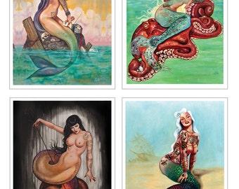 8 x 10 mermaids pick one - pink pearl -red siren-watersnake-sailors grave-or coney island mermaid