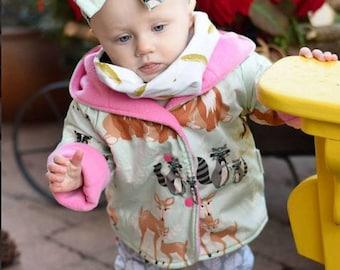 Baby Girls Jacket - Reversible Jacket - Baby Coat - Girls Coat - Winter Coat - Girls Hoodie - Fleece Jacket - Baby Hoodie - Fleece Coat