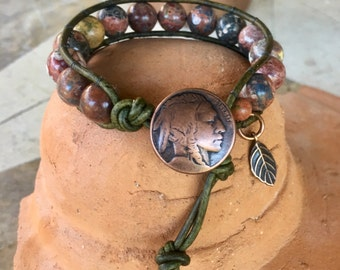 Handmade single wrap leather bracelet with red leopardskin jasper gemstone beads and copper button closure