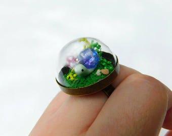 Mini Galaxy Snail Globe Ring