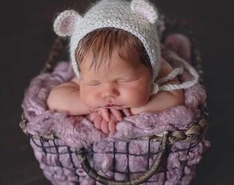 Baby Bear Bonnet. Photo prop bonnet. Handmade baby bonnet. Made to order.