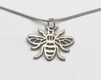 Bee Necklace Sterling Silver – Manchester Bee Charm Necklace in Solid Sterling Silver Makes Cute Bee Gift for Women