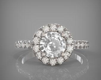 Handmade Natural 5.5mm- 6mm round white sapphire halo ring, 14k gold ring handmade engagement ring