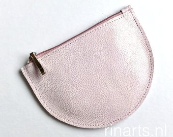 Zipper pouch demi-CIRCLE in pink patent leather.  Travel pouch. Cosmetic pouch. Bag insert.  gift for women. gift under 25