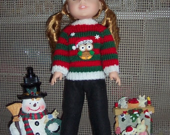"""Fits Wellie Wisher Dolls, """" Willa""""  American Girl  new Dolls. Ugly Christmas  Sweater outfit, Hand Knitted .  My own Design.  OOAK"""