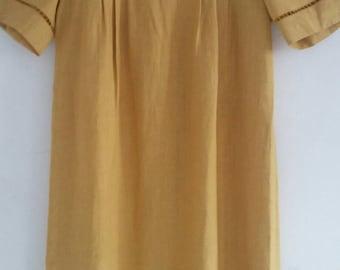 vintage linen smock dress