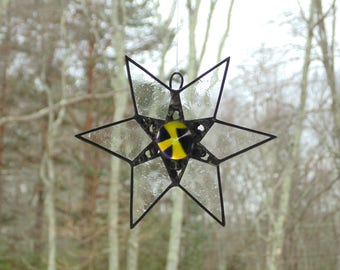 Stained glass star suncatcher, funky modern art, fused glass star, 6 pointed star, contemporary home decor, star ornament