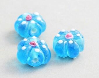 Lampwork Beads, Aqua Flower Beads, Polka Dot Beads, Three