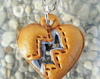 Golden polymer clay steampunk Heart Necklace.