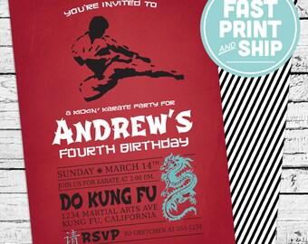 Printed Karate Kung Fu Tae Kwon Do Invitations and Envelopes