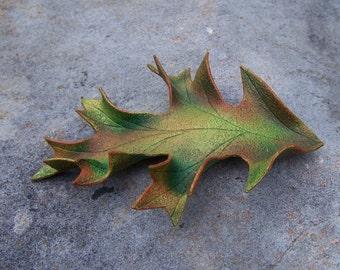 Leather Oak Leaf Hair Barrette in Autumn