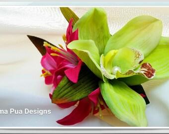 SILK FLOWER HAIR Clip, Bridal, Hair Flowers, Orchids & Pearls, Hair Accessory, Beach Wedding, Flower Headpiece, Swarovski crystals, Hawaiian