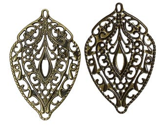 2 prints bronze Teardrop filigree connector