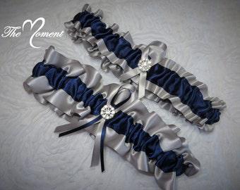 Silver and Navy Blue Garter Set, Wedding Garter, Bridal Garter, Keepsake Garter, Silver Garter, Prom Garter, Costume Garter, Garter