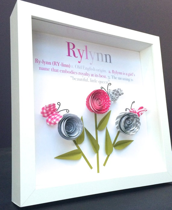 Personalized Name Origin And Meaning Paper Origami Shadowbox Frame Art With  Roses U0026 Butterflies Custom Newborn Baby Shower Nursery Girl Gift