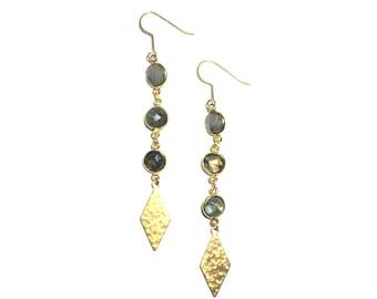 3 stone Labradorite drop earrings