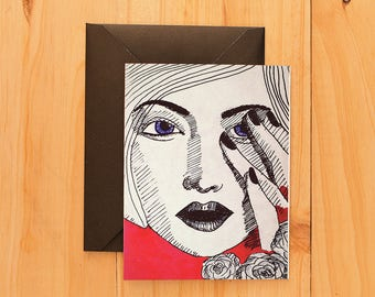Shy Girl Love Greeting Card | Love Card | Valentine's Day Card | Greeting Card | Inspirational Card | Anniversary Card