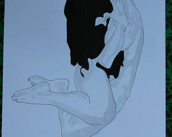 """drawing nude erotic """"Comma"""" ink and wash"""