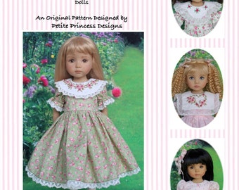 "PDF Pattern Effner 13"" Little Darling, ""Heirloom Roses""; Puffed Sleeve Dress with 3 Collar Variations and Embroidery Designs"